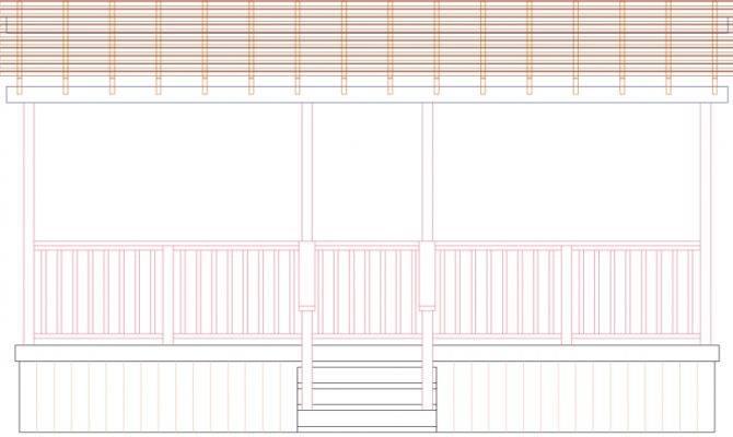 Deck Plan Rectangular Single Level Wih Pergola