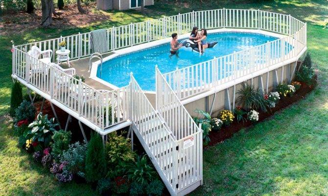 Deck Plans Above Ground Swimming Pools Backyard