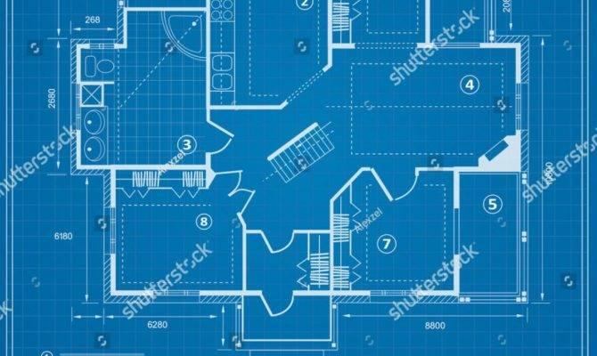 Decorative Blue Print House Vector Blueprint