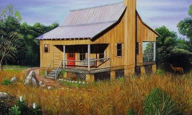 Deer Run Cabin Painting Gene Gregory
