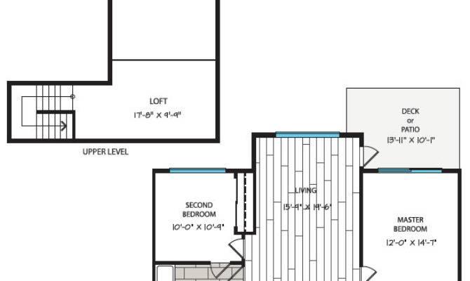 Deluxe Two Bedroom Loft Plan Waterstone