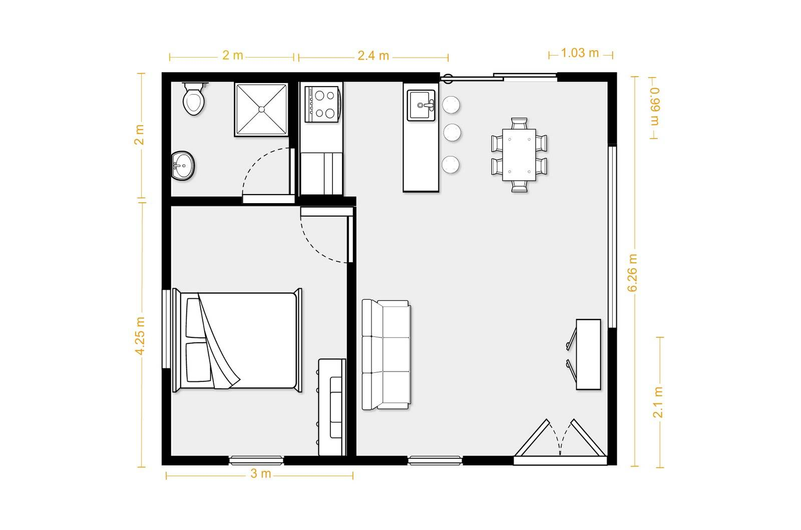 25 Genius Granny Flat Floor Plans 1 Bedroom House Plans