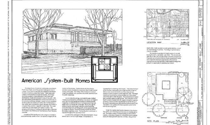 Details Frank Lloyd Wright Single Story Home Blueprints