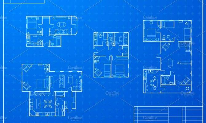 Different Blueprint House Plans Objects Creative Market