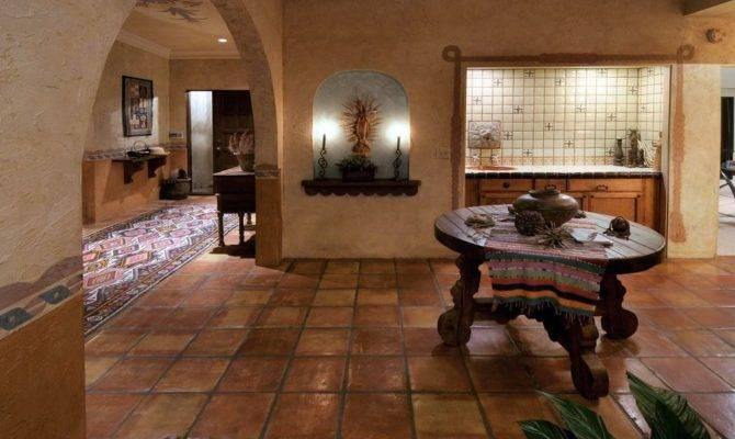 Dining Room High Ceiling Terracotta Tile Floors
