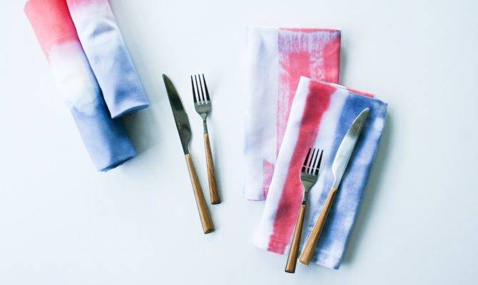 Diy Red White Blue Dip Dyed Painted Napkins