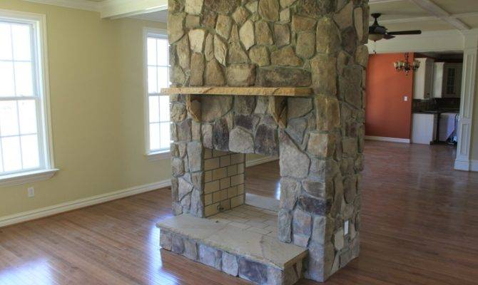 Double Sided Stone Fireplace Fireplaces Pinterest