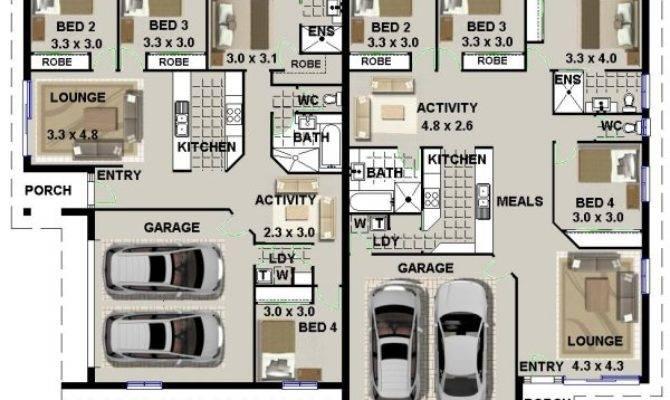 Duplex Bedroom Double Garage Design Corner