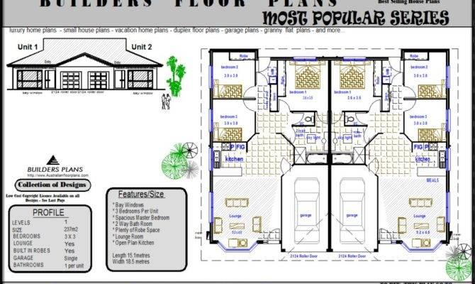 Duplex Design Units House Floor Plans Real Estate Plan Bedroom