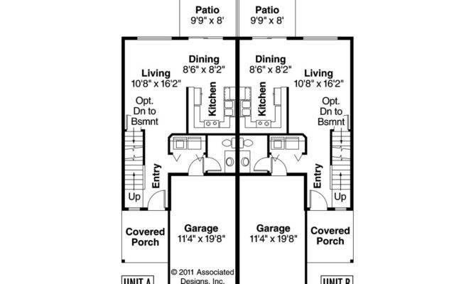 Duplex Floor Plans Narrow Craftsman House Toliver