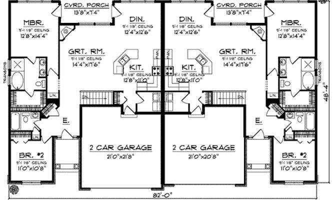 Duplex Home Plan European Flair Architectural