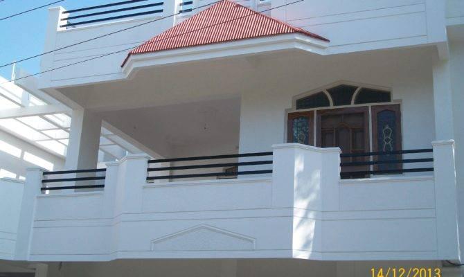 Duplex House Balcony Sloped Roof Wooden Door Window Frames