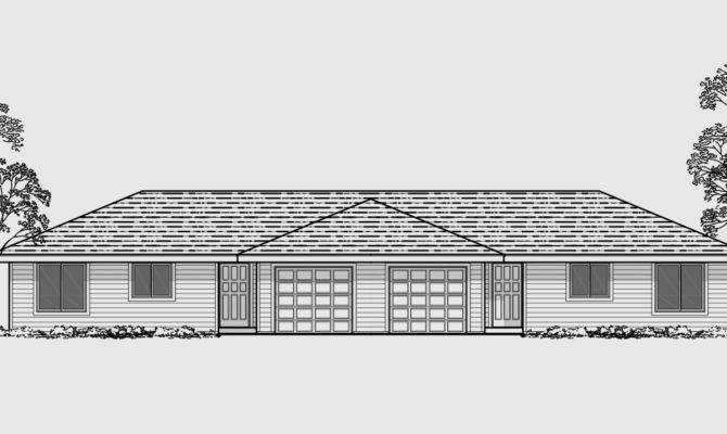 Duplex House Plans Bedroom Garage