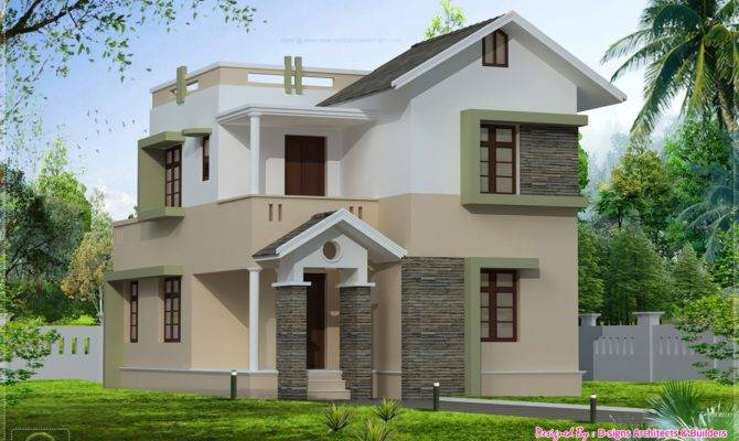 Eco Friendly Houses Square Feet Small Villa Elevation