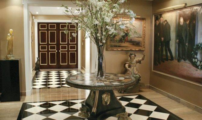 Elegant Foyer Black White Marble Flooring Hgtv
