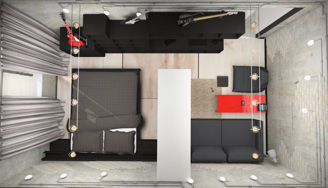 Ellenpodesign Loft Style One Room Apartment Design House Plans 12095
