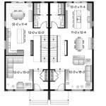 Eplans Contemporary House Plan Semi Detached