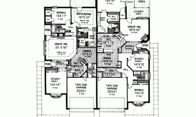 Eplans Mediterranean House Plan Duplex Growing