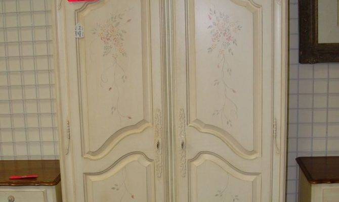 Ethan Allen French Country Hand Painted Armoire Wardrobe