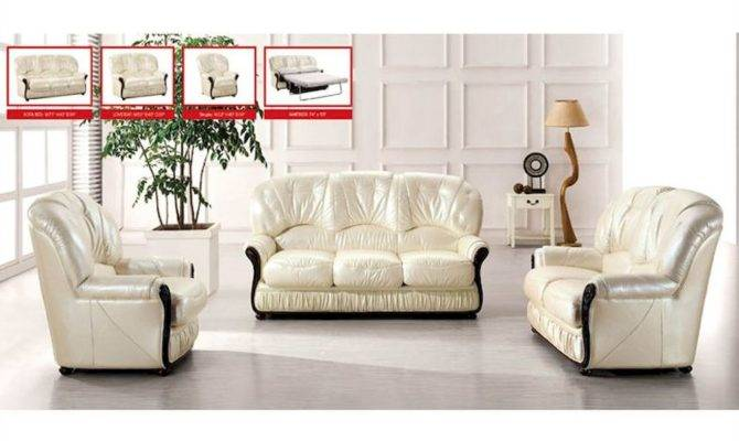 European Furniture Italian Leather Sofa Set