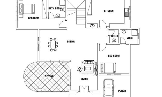 European Style Two Bedroom House Plan Dwg Cad
