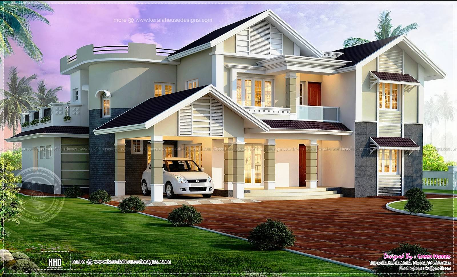 Excellent Beautiful Homes Designs Bedroom Home Kerala House Plans 167481