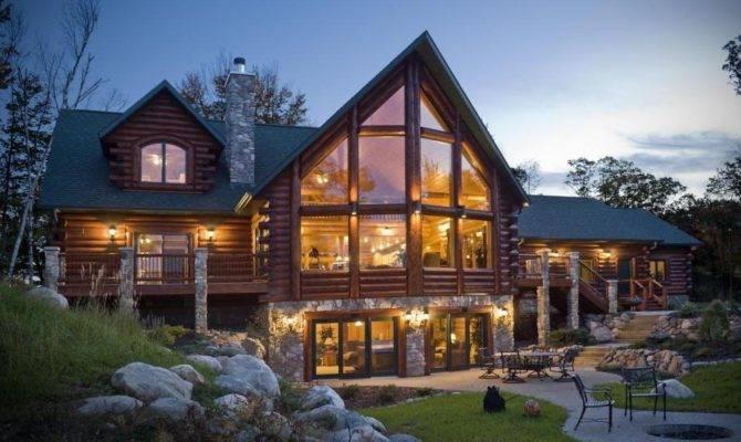 Fantastic Natural Log Cabin House Elegant Wooden Staircase
