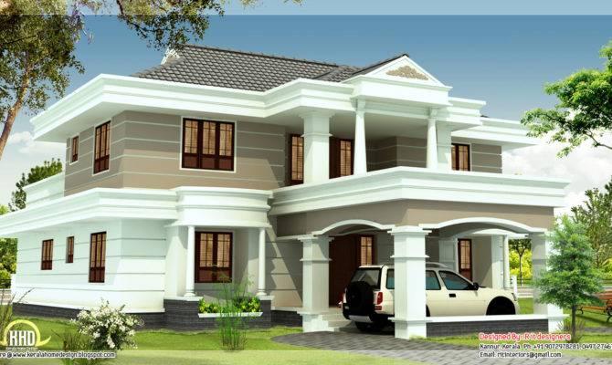 Feet Beautiful House Elevation Kerala Home Design Floor