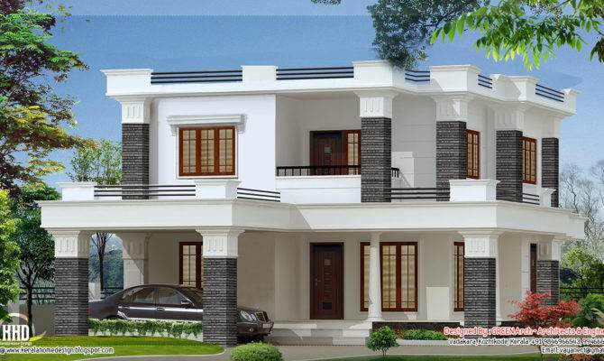 Feet Bedroom Flat Roof Villa House Design Plans