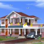 Feet Bedroom Sloped Roof House Design Kerala Home