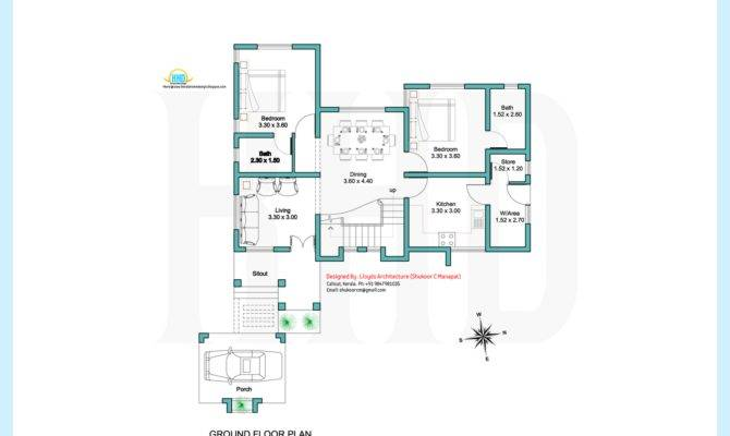 Feet Contemporary Villa Plan Elevation