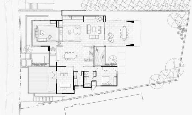 First Floor Plan Modern House Many Open Areas