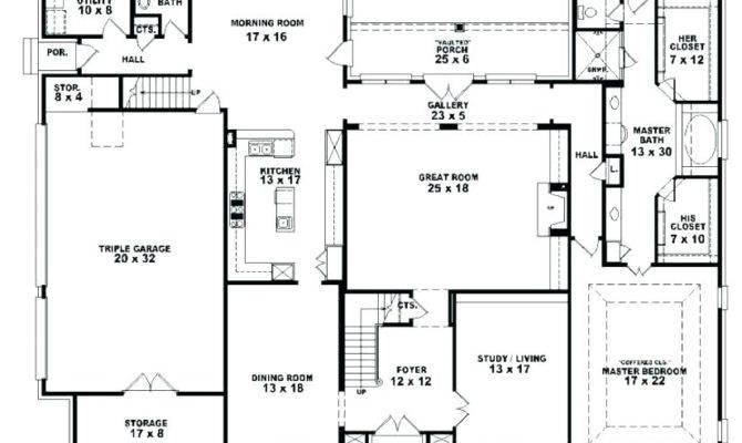 Five Bedroom Ranch House Plans Bath Floor