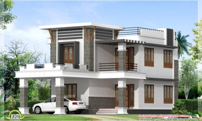 Flat Roof Home Design Greenline Architects Builders Calicut Kerala