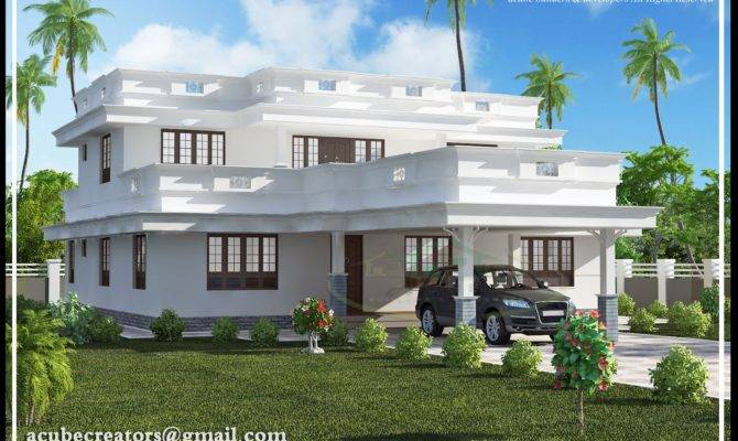 Flat Roof Home Design Plan Acube Builders