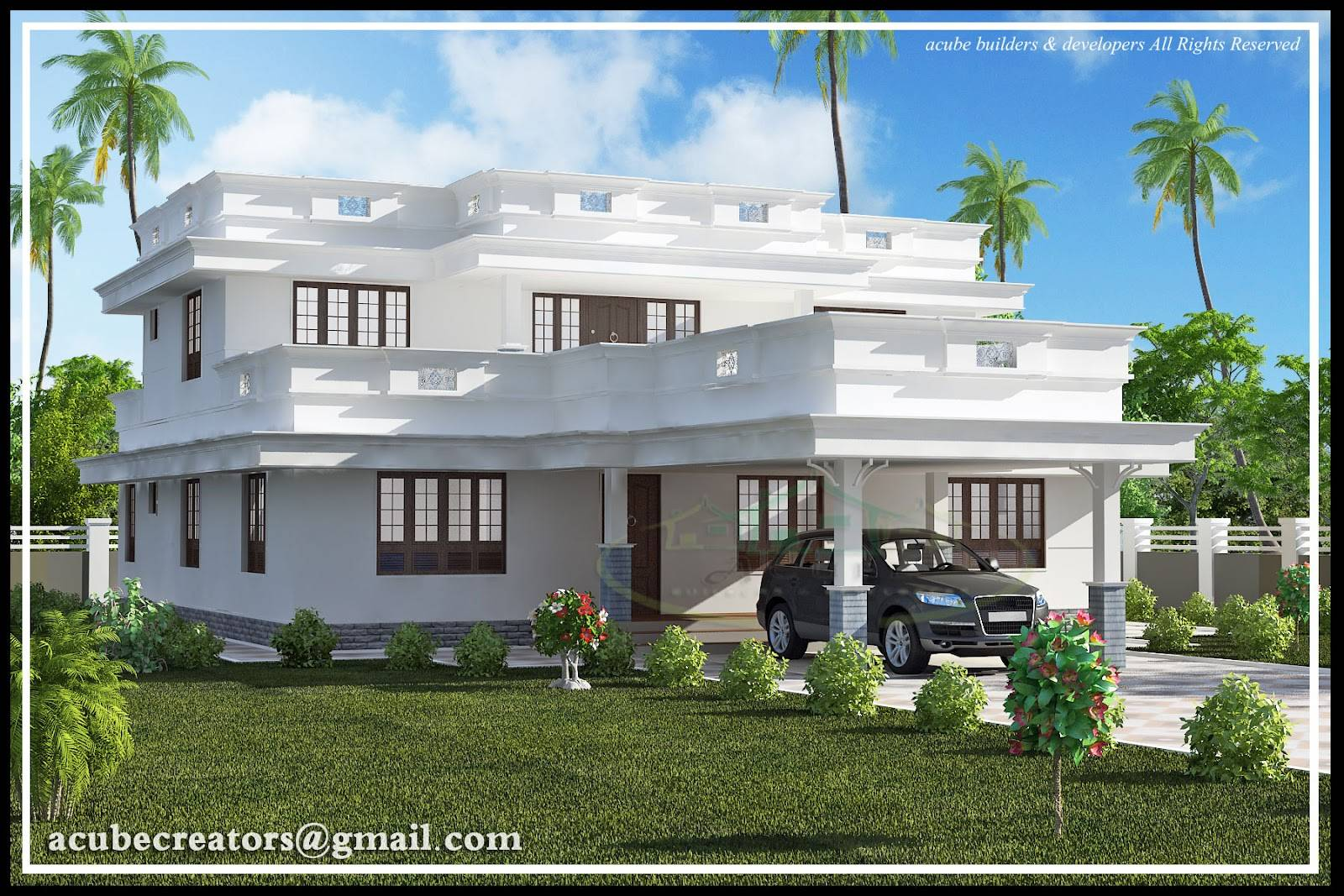 Flat Roof Home Design Plan Acube Builders House Plans 72906