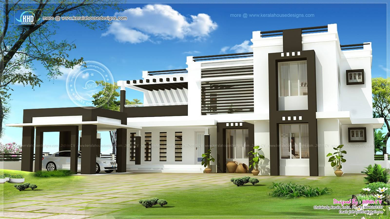 Flat Roof House Exterior Kerala Home Design Floor Plans House Plans 77891