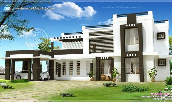 Flat Roof House Exterior Kerala Home Design Floor House Plans 75030