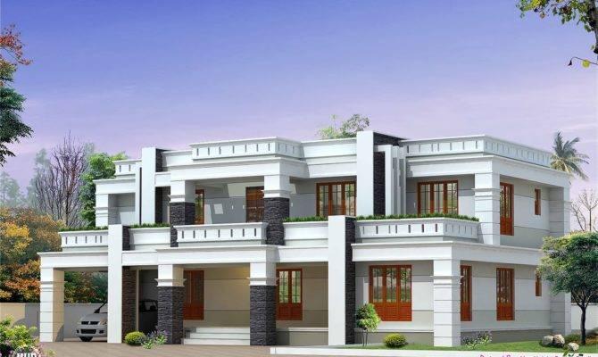 Flat Roof Luxury Home Design Kerala Floor Plans