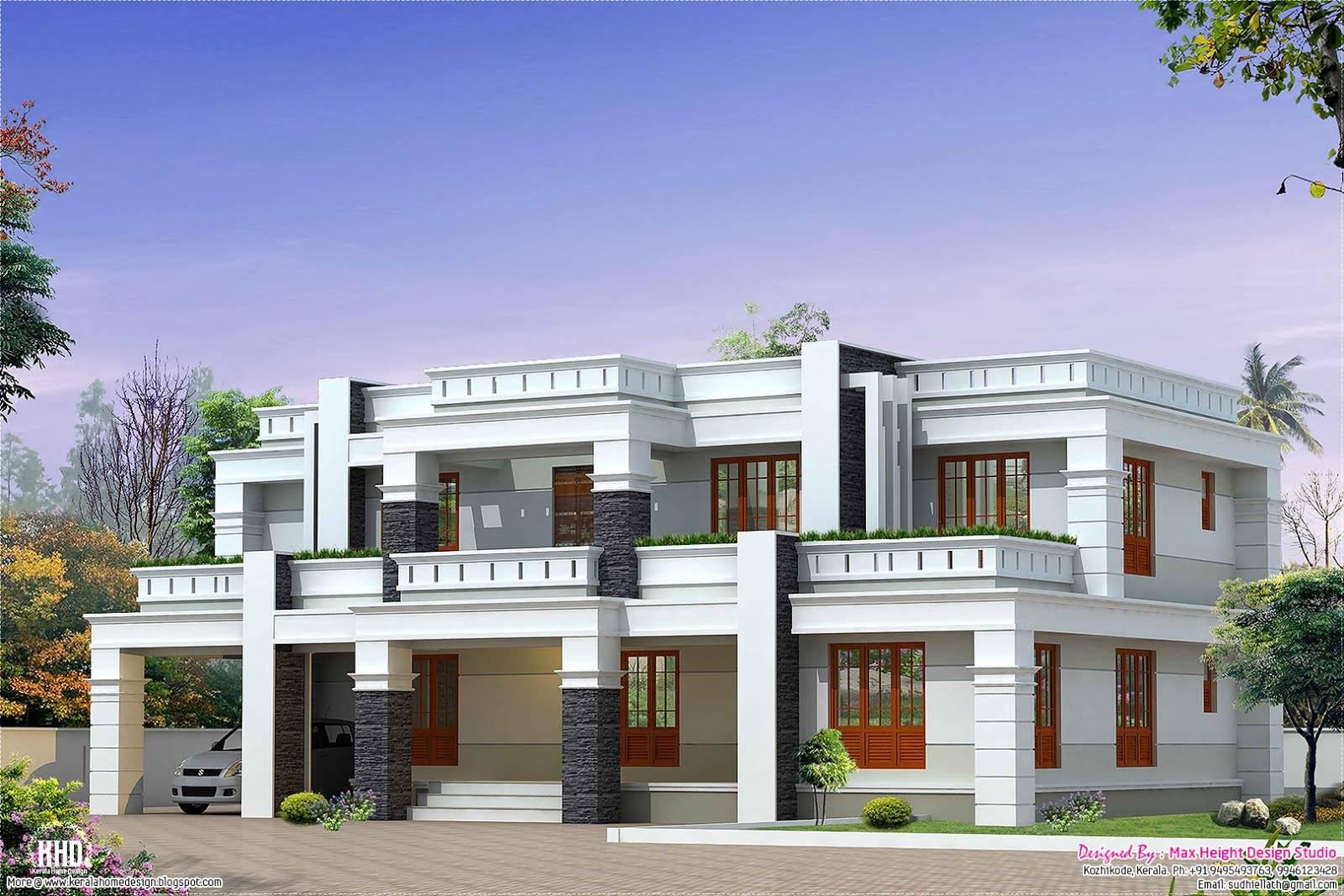 Flat Roof Luxury Home Design Kerala House Plans 35378
