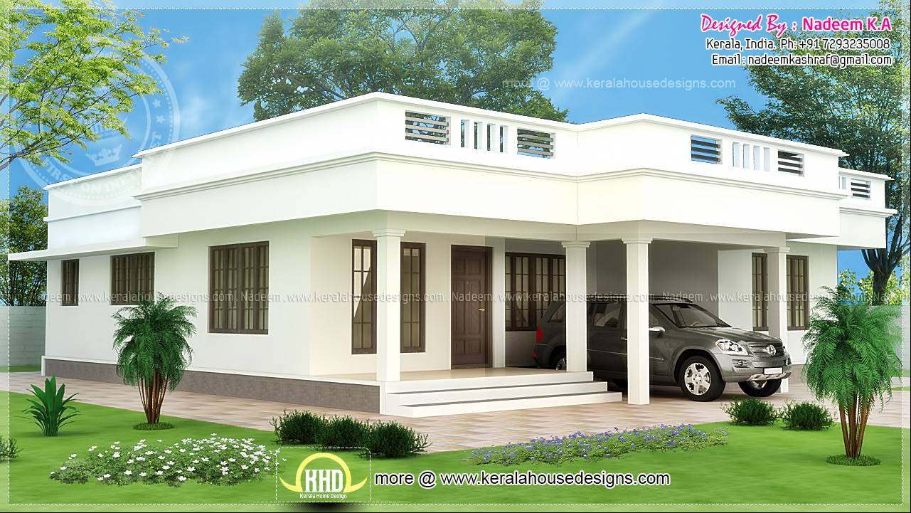 Flat Roof Single Storey Home Kerala Plans House Plans 65422