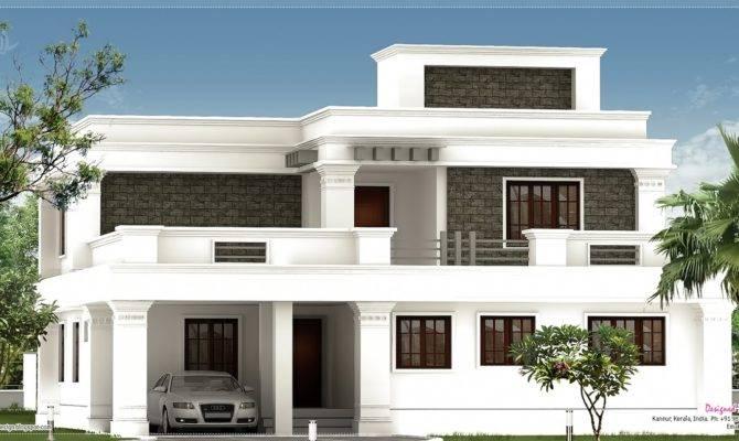 Flat Roof Villa Exterior Feet House Design Plans Gmm