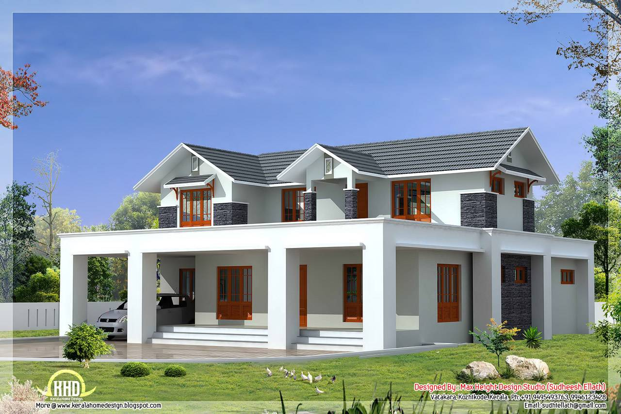 Flat Sloping Roof Mix House Elevation Feet House Plans 43298