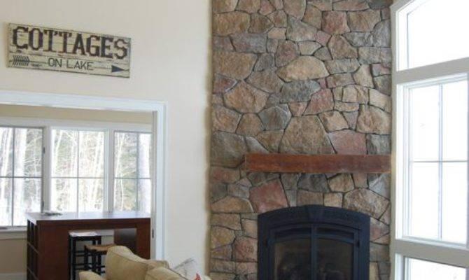 Floor Ceiling Stone Fireplace Home Design Ideas
