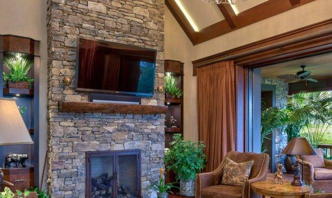 Floor Ceiling Stone Fireplace Home Design