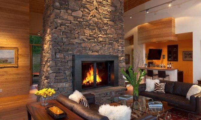 Floor Ceiling Stone Fireplace Roof Beams