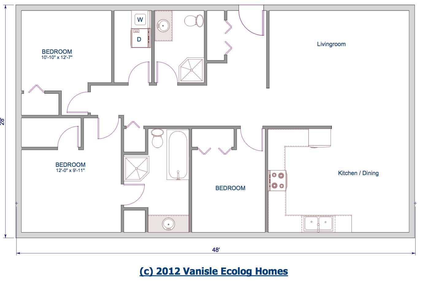 Floor Plan Single Level Log Home Rancher Bungalow Style House Plans 53430