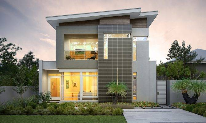 Floor Plans Narrow Lot Homes Craftsman House Width Modern