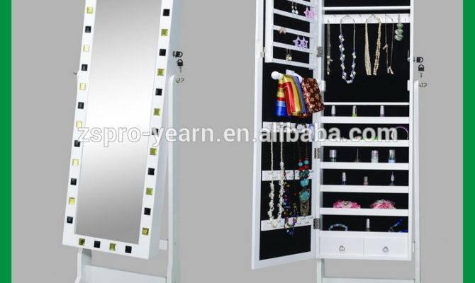 Floor Standing Wooden Mirror Jewellery Cabinet Jewelry