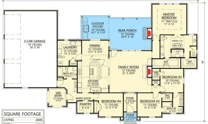 Four Bedroom Acadian House Plan Great Space